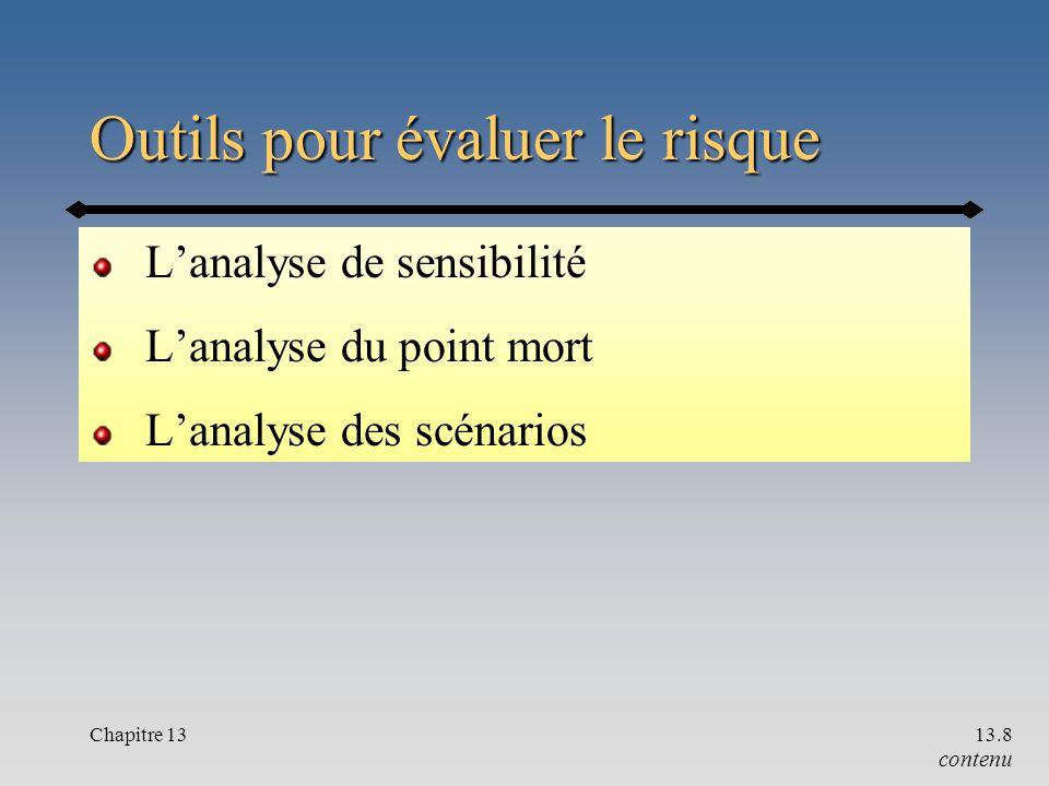 Chapitre 1313.8 Outils pour évaluer le risque L'analyse de sensibilité L'analyse du point mort L'analyse des scénarios contenu