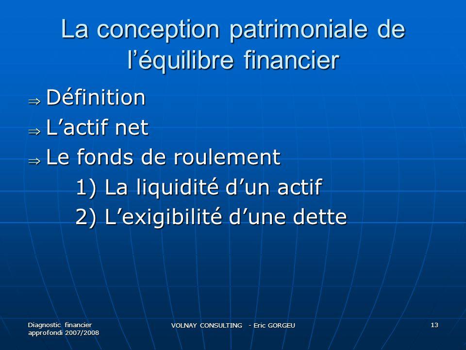 La conception patrimoniale de l'équilibre financier  Définition  L'actif net  Le fonds de roulement 1) La liquidité d'un actif 2) L'exigibilité d'une dette Diagnostic financier approfondi 2007/2008 VOLNAY CONSULTING - Eric GORGEU 13
