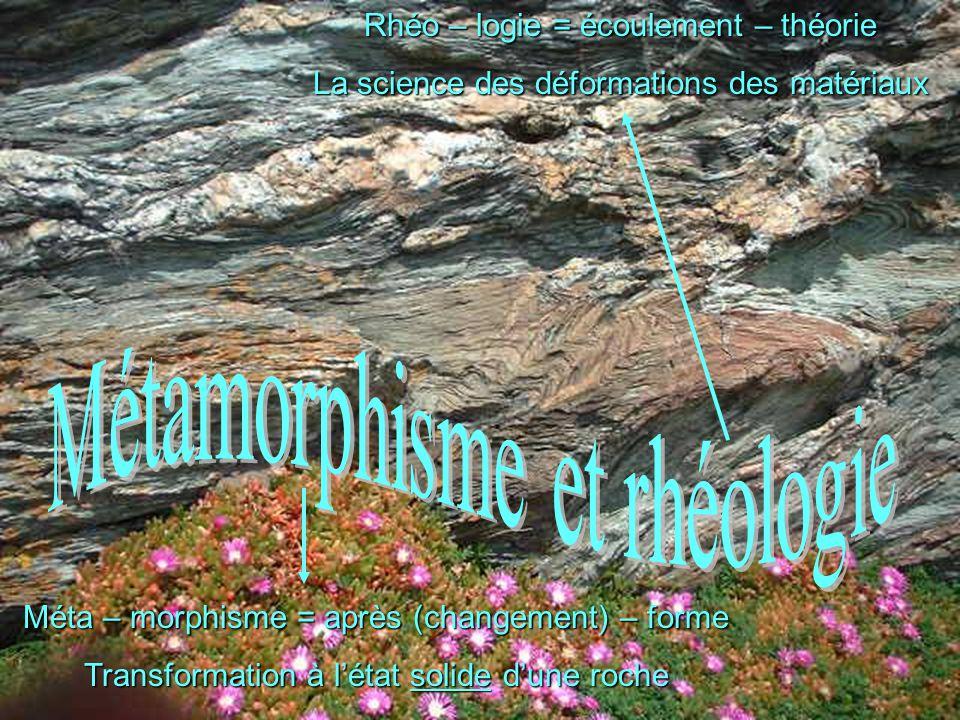 Méta – morphisme = après (changement) – forme Transformation à l'état solide d'une roche Rhéo – logie = écoulement – théorie La science des déformatio