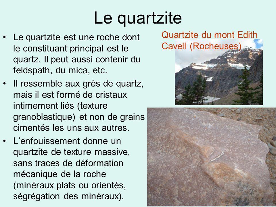 Le quartzite •Le quartzite est une roche dont le constituant principal est le quartz. Il peut aussi contenir du feldspath, du mica, etc. •Il ressemble