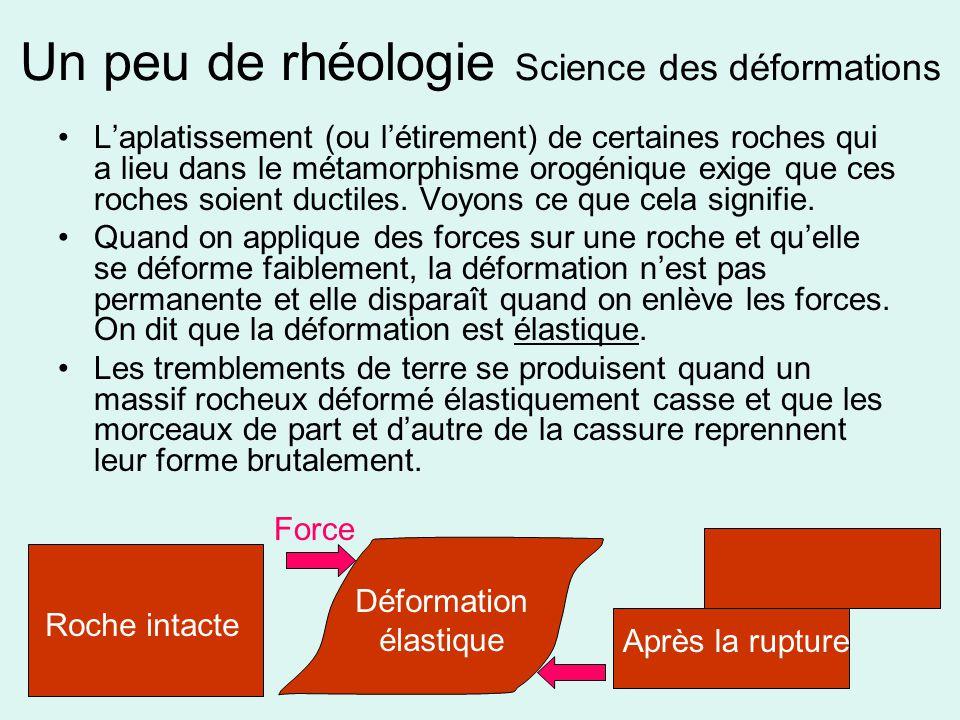Un peu de rhéologie Science des déformations •L'aplatissement (ou l'étirement) de certaines roches qui a lieu dans le métamorphisme orogénique exige q