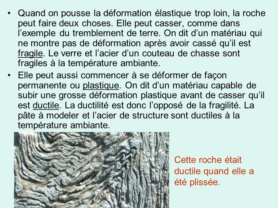 •Quand on pousse la déformation élastique trop loin, la roche peut faire deux choses. Elle peut casser, comme dans l'exemple du tremblement de terre.