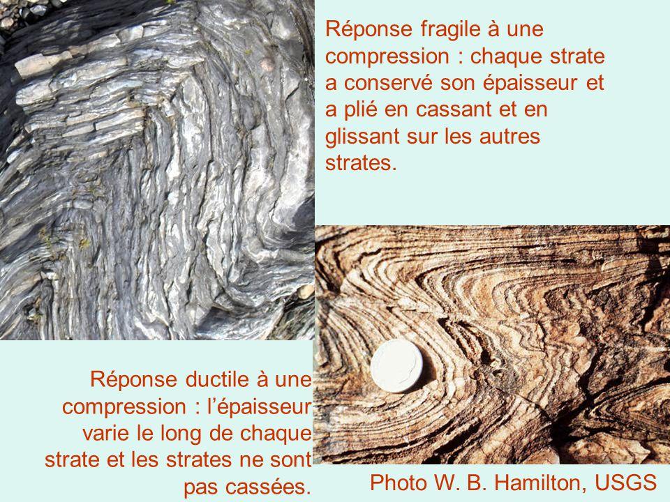 Réponse fragile à une compression : chaque strate a conservé son épaisseur et a plié en cassant et en glissant sur les autres strates. Réponse ductile