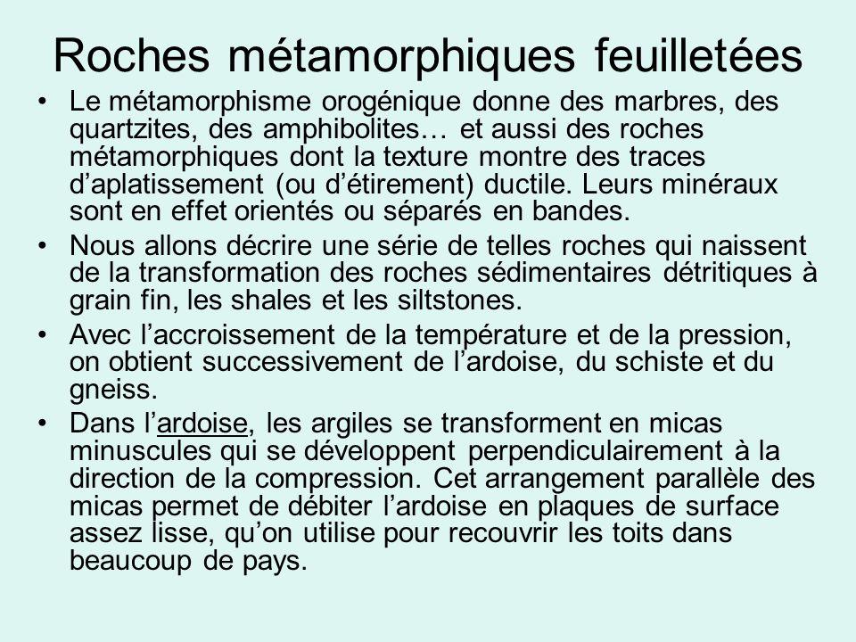 Roches métamorphiques feuilletées •Le métamorphisme orogénique donne des marbres, des quartzites, des amphibolites… et aussi des roches métamorphiques