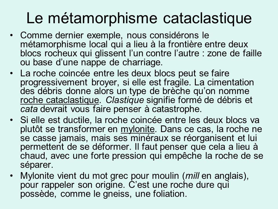 Le métamorphisme cataclastique •Comme dernier exemple, nous considérons le métamorphisme local qui a lieu à la frontière entre deux blocs rocheux qui