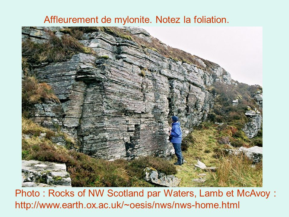 Photo : Rocks of NW Scotland par Waters, Lamb et McAvoy : http://www.earth.ox.ac.uk/~oesis/nws/nws-home.html Affleurement de mylonite.