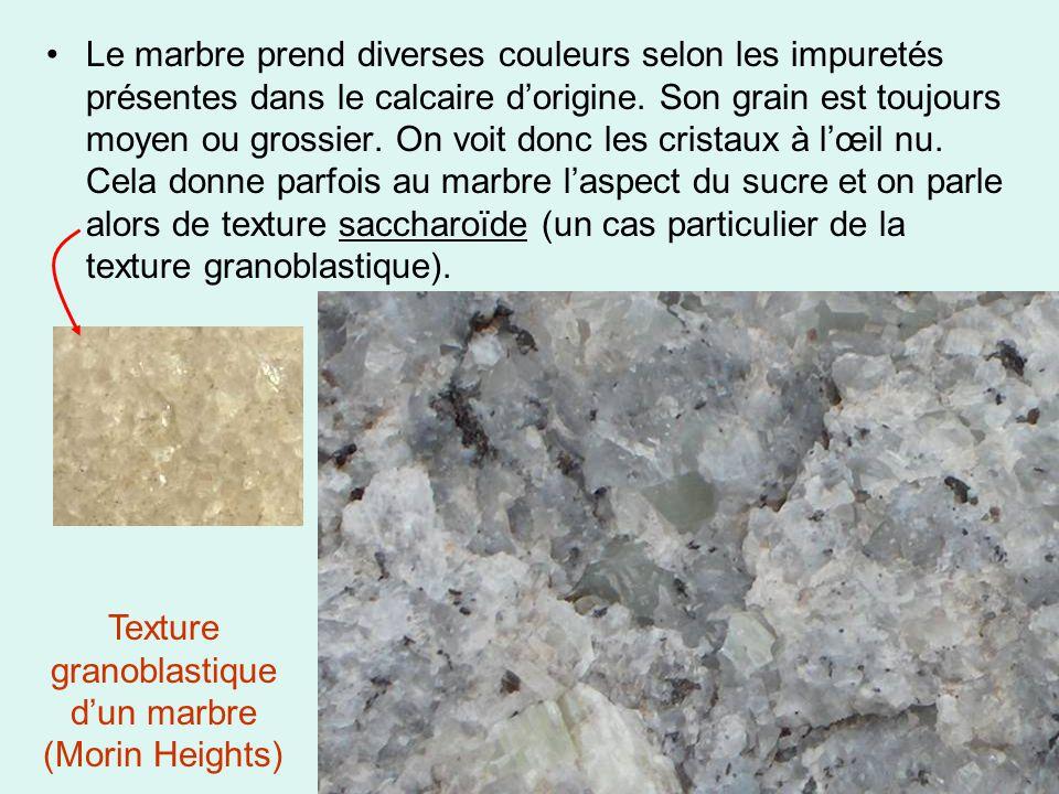 •Le marbre prend diverses couleurs selon les impuretés présentes dans le calcaire d'origine. Son grain est toujours moyen ou grossier. On voit donc le