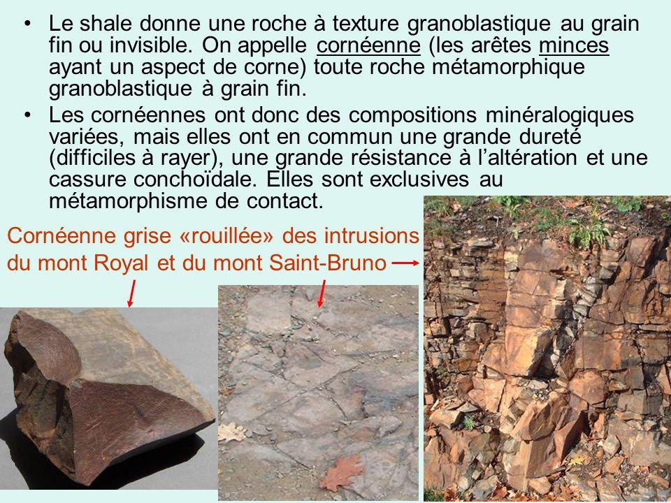 •Le shale donne une roche à texture granoblastique au grain fin ou invisible. On appelle cornéenne (les arêtes minces ayant un aspect de corne) toute