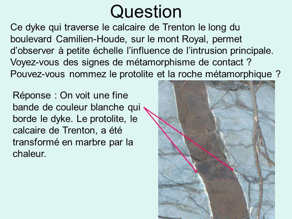 Question Ce dyke qui traverse le calcaire de Trenton le long du boulevard Camilien-Houde, sur le mont Royal, permet d'observer à petite échelle l'infl