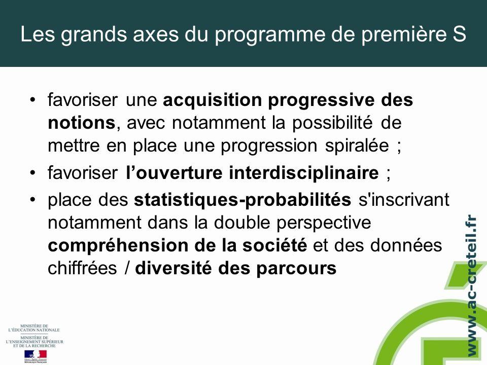 Les grands axes du programme de première S •favoriser une acquisition progressive des notions, avec notamment la possibilité de mettre en place une pr
