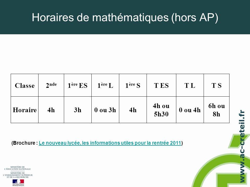 Horaires de mathématiques (hors AP) Classe2 nde 1 ère ES1 ère L1 ère ST EST LT S Horaire4h3h0 ou 3h4h 4h ou 5h30 0 ou 4h 6h ou 8h (Brochure : Le nouve
