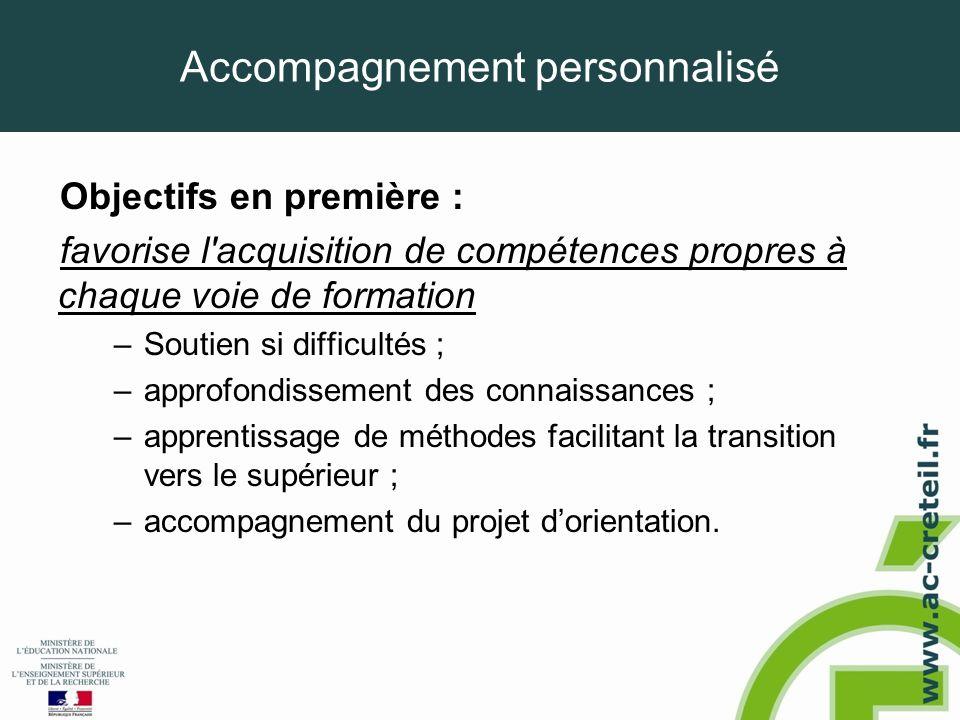 Accompagnement personnalisé Objectifs en première : favorise l'acquisition de compétences propres à chaque voie de formation –Soutien si difficultés ;