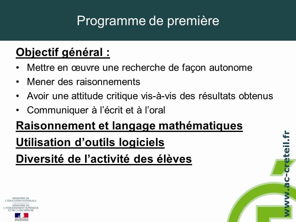 Programme de première Objectif général : •Mettre en œuvre une recherche de façon autonome •Mener des raisonnements •Avoir une attitude critique vis-à-