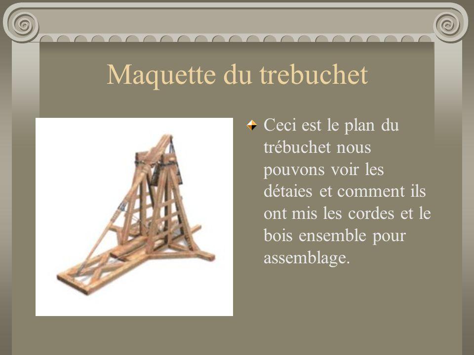 Maquette du trebuchet Ceci est le plan du trébuchet nous pouvons voir les détaies et comment ils ont mis les cordes et le bois ensemble pour assemblag