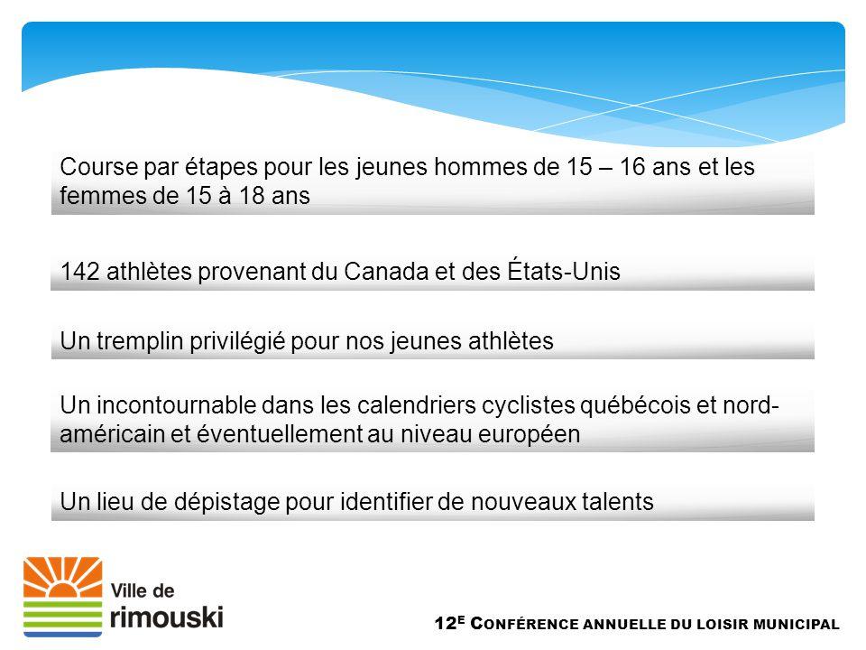 Un lieu de dépistage pour identifier de nouveaux talents 12 E C ONFÉRENCE ANNUELLE DU LOISIR MUNICIPAL 142 athlètes provenant du Canada et des États-Unis Course par étapes pour les jeunes hommes de 15 – 16 ans et les femmes de 15 à 18 ans Un tremplin privilégié pour nos jeunes athlètes Un incontournable dans les calendriers cyclistes québécois et nord- américain et éventuellement au niveau européen