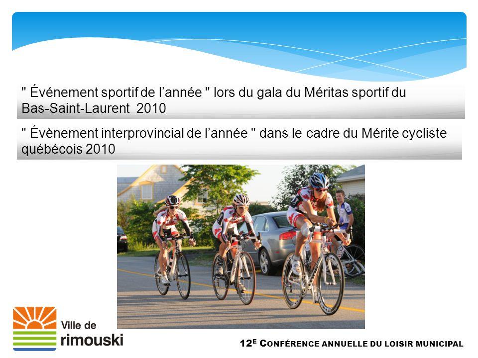 12 E C ONFÉRENCE ANNUELLE DU LOISIR MUNICIPAL Événement sportif de l'année lors du gala du Méritas sportif du Bas-Saint-Laurent 2010 Évènement interprovincial de l'année dans le cadre du Mérite cycliste québécois 2010