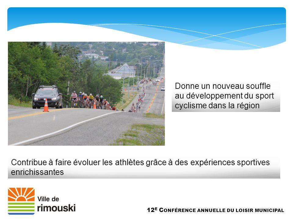 Donne un nouveau souffle au développement du sport cyclisme dans la région 12 E C ONFÉRENCE ANNUELLE DU LOISIR MUNICIPAL Contribue à faire évoluer les athlètes grâce à des expériences sportives enrichissantes