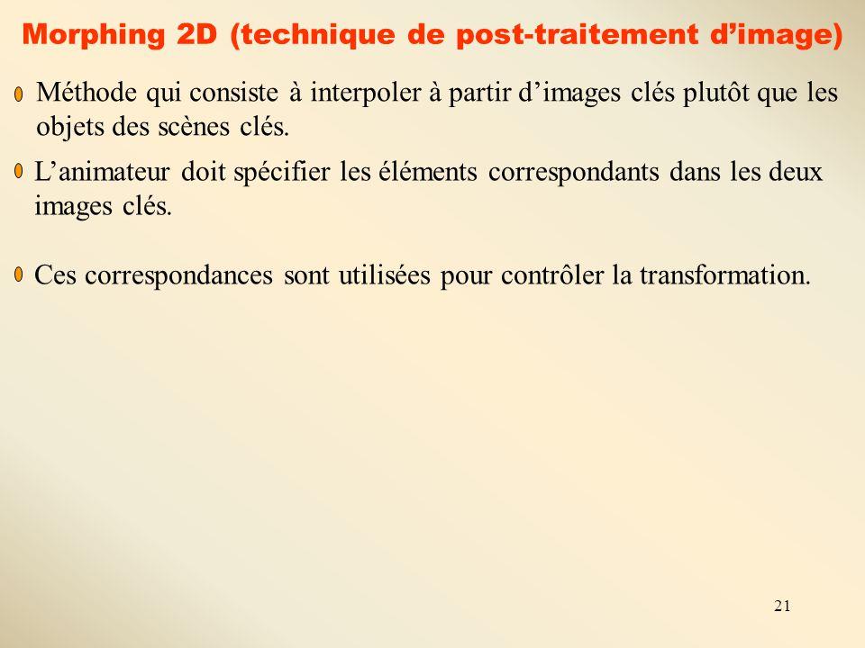 21 Morphing 2D (technique de post-traitement d'image) Méthode qui consiste à interpoler à partir d'images clés plutôt que les objets des scènes clés.