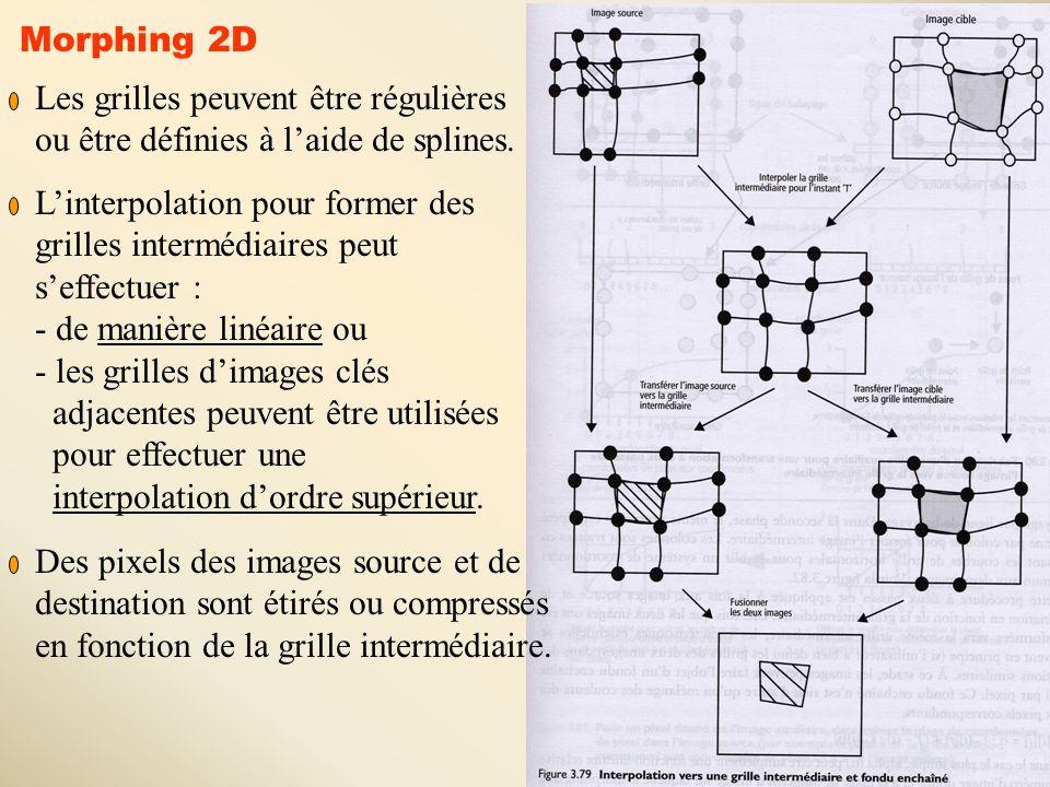 23 Morphing 2D Les grilles peuvent être régulières ou être définies à l'aide de splines. L'interpolation pour former des grilles intermédiaires peut s