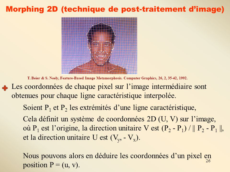 26 Morphing 2D (technique de post-traitement d'image) T. Beier & S. Neely, Feature-Based Image Metamorphosis. Computer Graphics, 26, 2, 35-42, 1992. L
