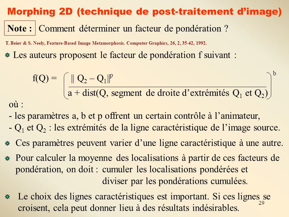 29 Morphing 2D (technique de post-traitement d'image) Comment déterminer un facteur de pondération ? Note : T. Beier & S. Neely, Feature-Based Image M