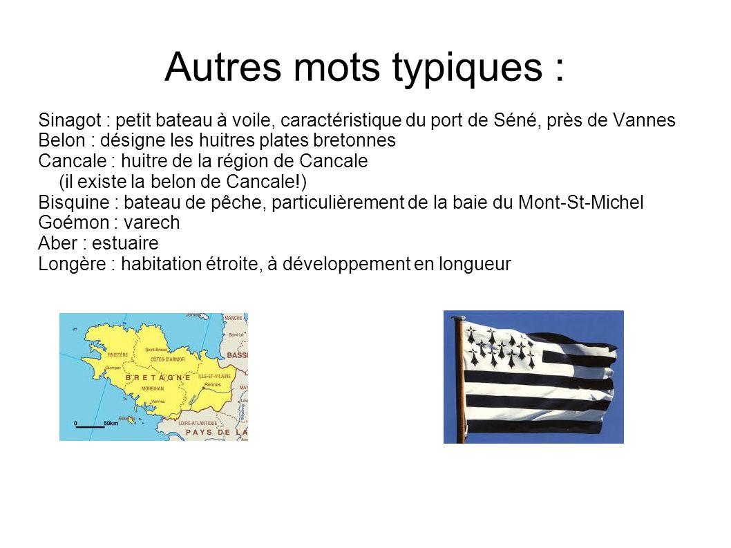 Autres mots typiques : Sinagot : petit bateau à voile, caractéristique du port de Séné, près de Vannes Belon : désigne les huitres plates bretonnes Ca