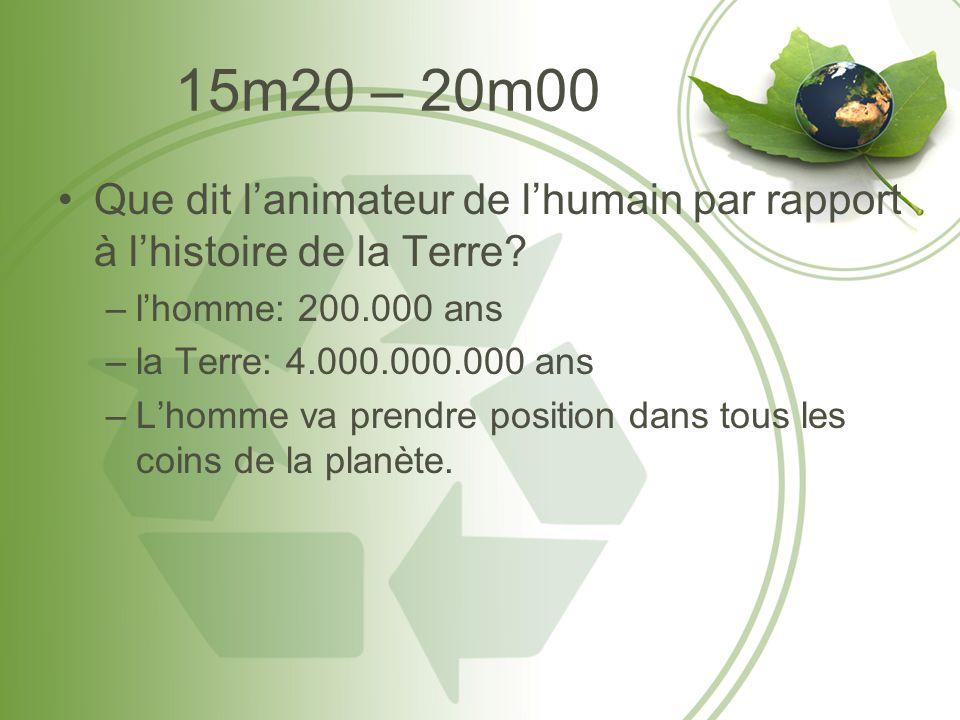 15m20 – 20m00 •Que dit l'animateur de l'humain par rapport à l'histoire de la Terre? –l'homme: 200.000 ans –la Terre: 4.000.000.000 ans –L'homme va pr