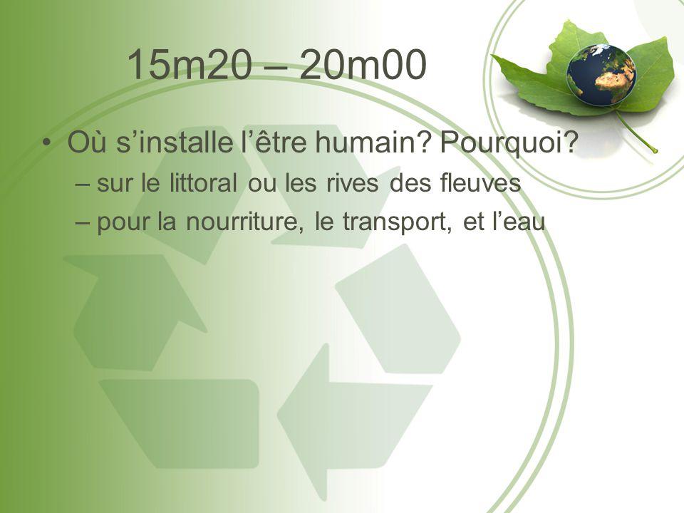 15m20 – 20m00 •Où s'installe l'être humain? Pourquoi? –sur le littoral ou les rives des fleuves –pour la nourriture, le transport, et l'eau