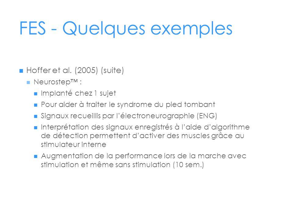 FES - Quelques exemples  Hoffer et al. (2005) (suite)  Neurostep™ :  Implanté chez 1 sujet  Pour aider à traiter le syndrome du pied tombant  Sig