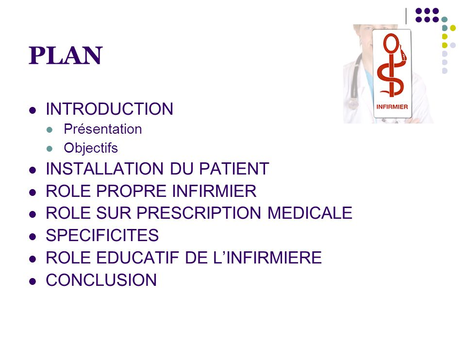 PLAN  INTRODUCTION  Présentation  Objectifs  INSTALLATION DU PATIENT  ROLE PROPRE INFIRMIER  ROLE SUR PRESCRIPTION MEDICALE  SPECIFICITES  ROLE EDUCATIF DE L'INFIRMIERE  CONCLUSION