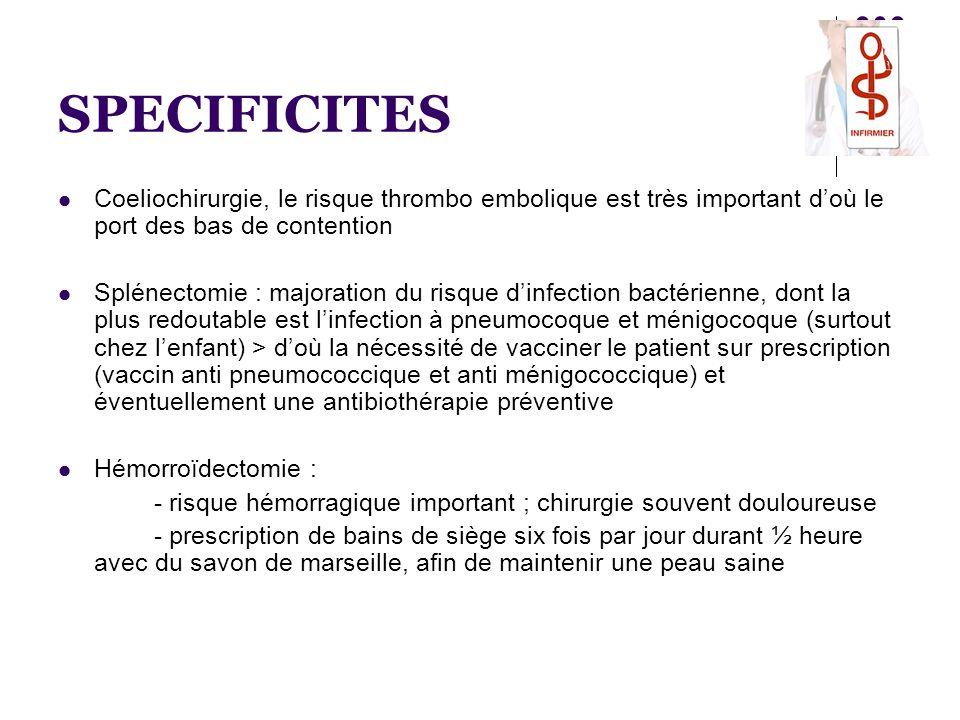 SPECIFICITES  Coeliochirurgie, le risque thrombo embolique est très important d'où le port des bas de contention  Splénectomie : majoration du risqu