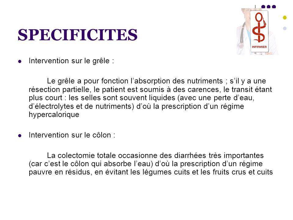SPECIFICITES  Intervention sur le grêle : Le grêle a pour fonction l'absorption des nutriments ; s'il y a une résection partielle, le patient est sou