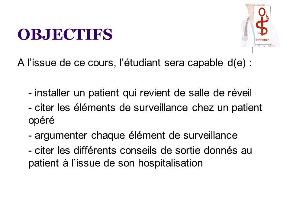 OBJECTIFS A l'issue de ce cours, l'étudiant sera capable d(e) : - installer un patient qui revient de salle de réveil - citer les éléments de surveill