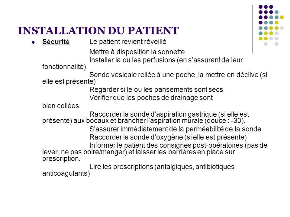 INSTALLATION DU PATIENT  SécuritéLe patient revient réveillé Mettre à disposition la sonnette Installer la ou les perfusions (en s'assurant de leur f