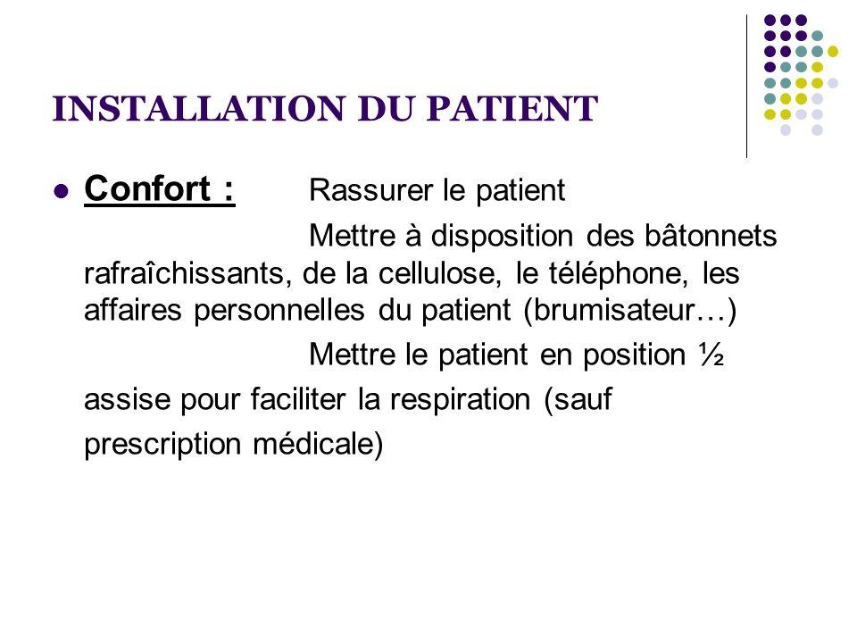 INSTALLATION DU PATIENT  Confort : Rassurer le patient Mettre à disposition des bâtonnets rafraîchissants, de la cellulose, le téléphone, les affaire