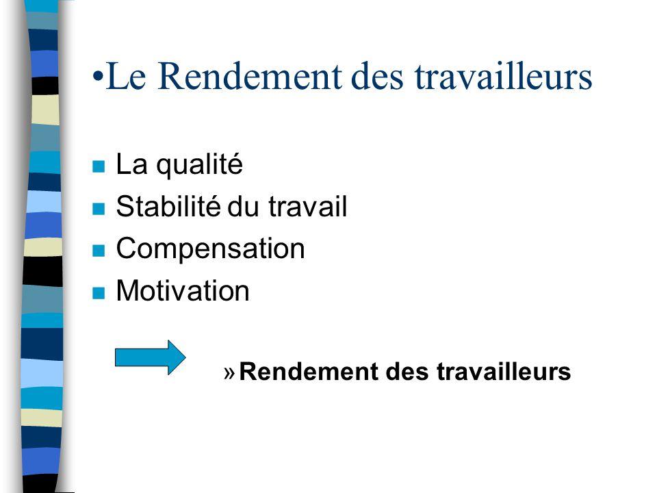 •Le Rendement des travailleurs n La qualité n Stabilité du travail n Compensation n Motivation »Rendement des travailleurs