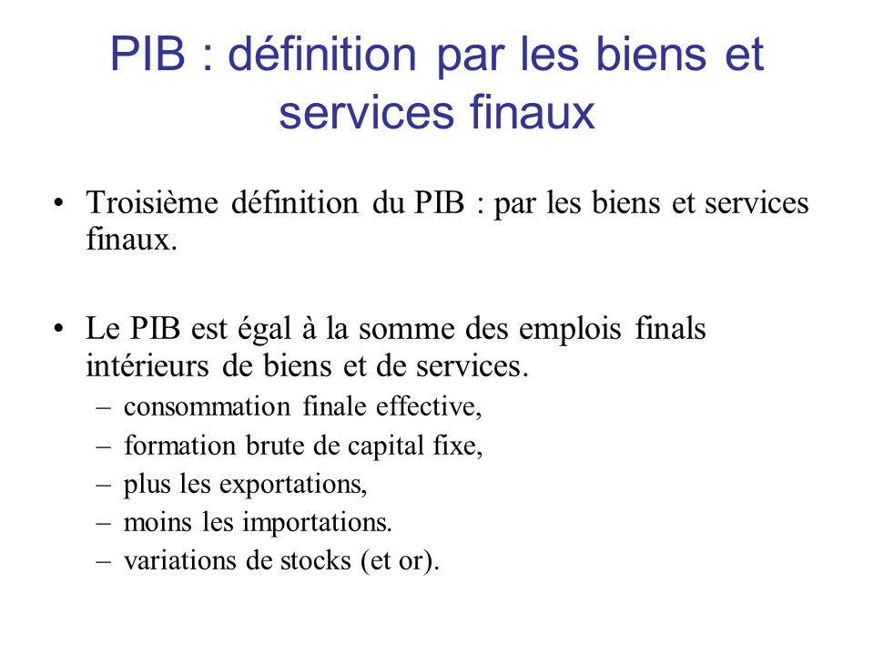 PIB : définition par les biens et services finaux •Troisième définition du PIB : par les biens et services finaux. •Le PIB est égal à la somme des emp