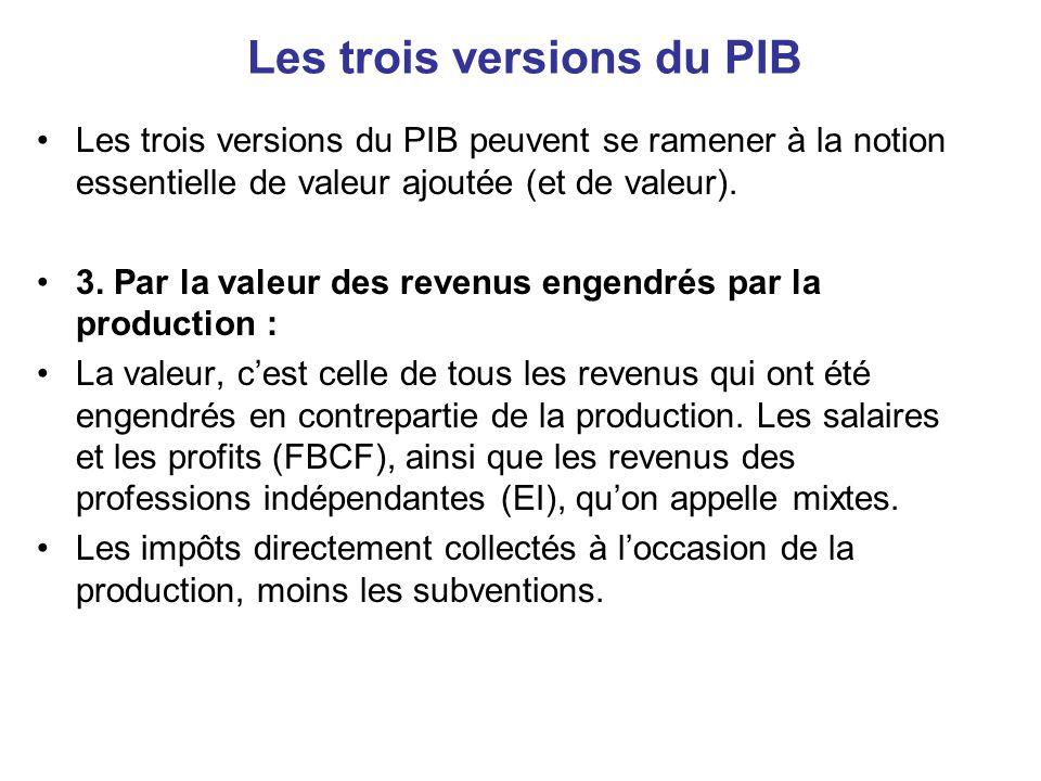Les trois versions du PIB •Les trois versions du PIB peuvent se ramener à la notion essentielle de valeur ajoutée (et de valeur). •3. Par la valeur de