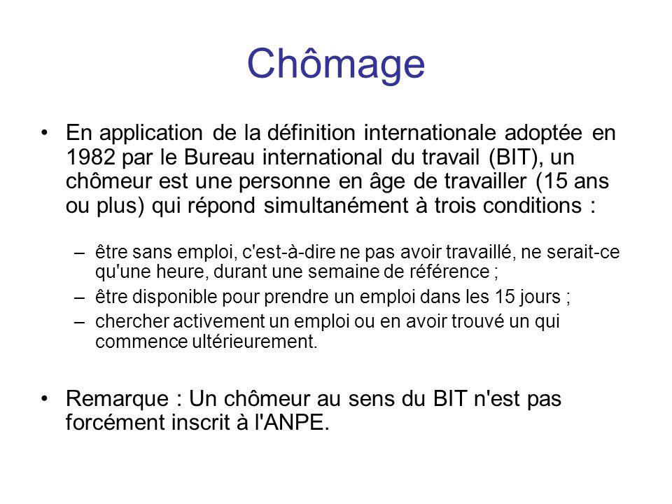 Chômage •En application de la définition internationale adoptée en 1982 par le Bureau international du travail (BIT), un chômeur est une personne en â