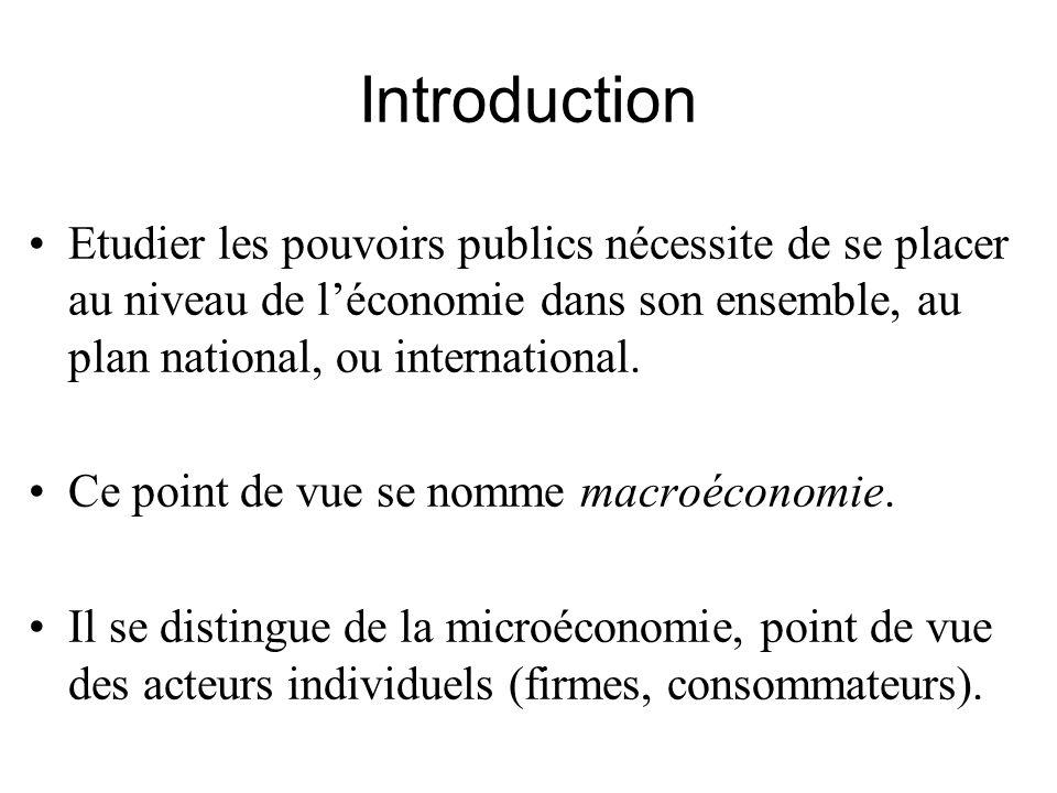 Introduction •Etudier les pouvoirs publics nécessite de se placer au niveau de l'économie dans son ensemble, au plan national, ou international. •Ce p