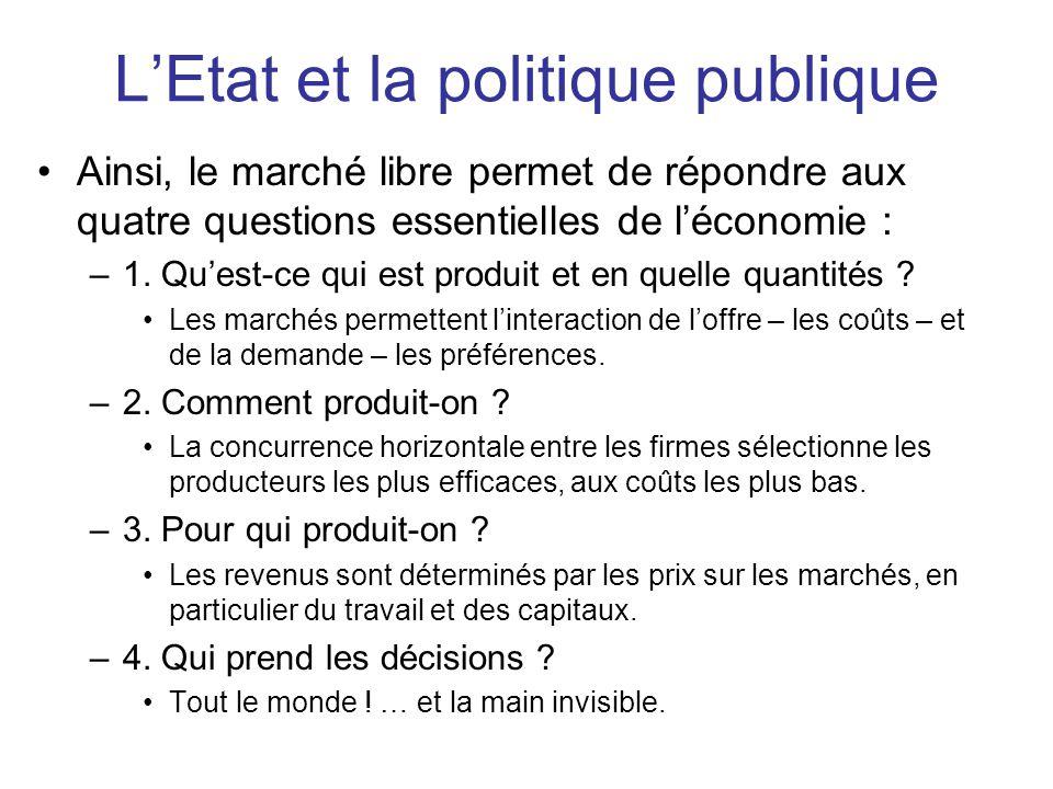 L'Etat et la politique publique •Ainsi, le marché libre permet de répondre aux quatre questions essentielles de l'économie : –1. Qu'est-ce qui est pro