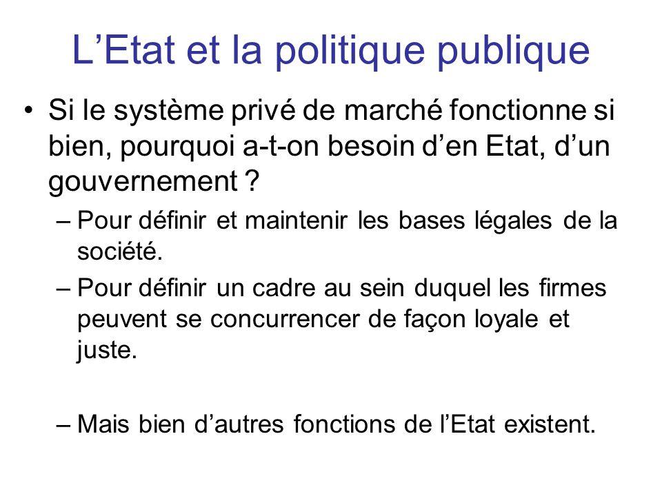 L'Etat et la politique publique •Si le système privé de marché fonctionne si bien, pourquoi a-t-on besoin d'en Etat, d'un gouvernement ? –Pour définir