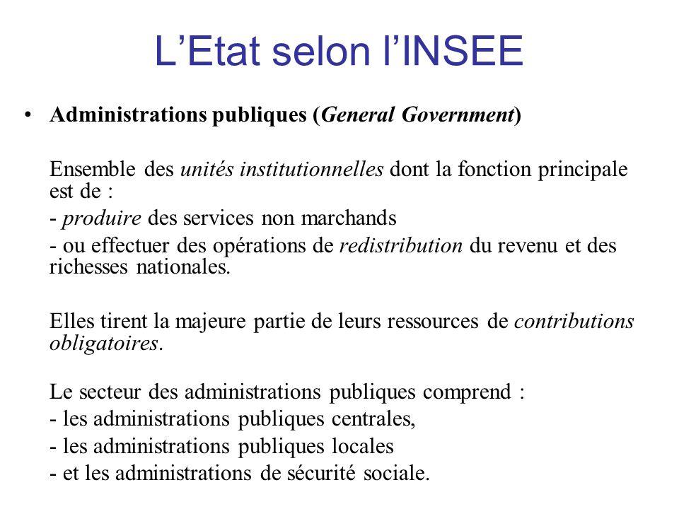 L'Etat selon l'INSEE •Administrations publiques (General Government) Ensemble des unités institutionnelles dont la fonction principale est de : - prod