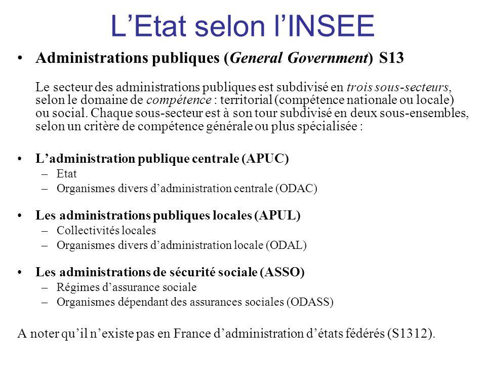 L'Etat selon l'INSEE •Administrations publiques (General Government) S13 Le secteur des administrations publiques est subdivisé en trois sous-secteurs