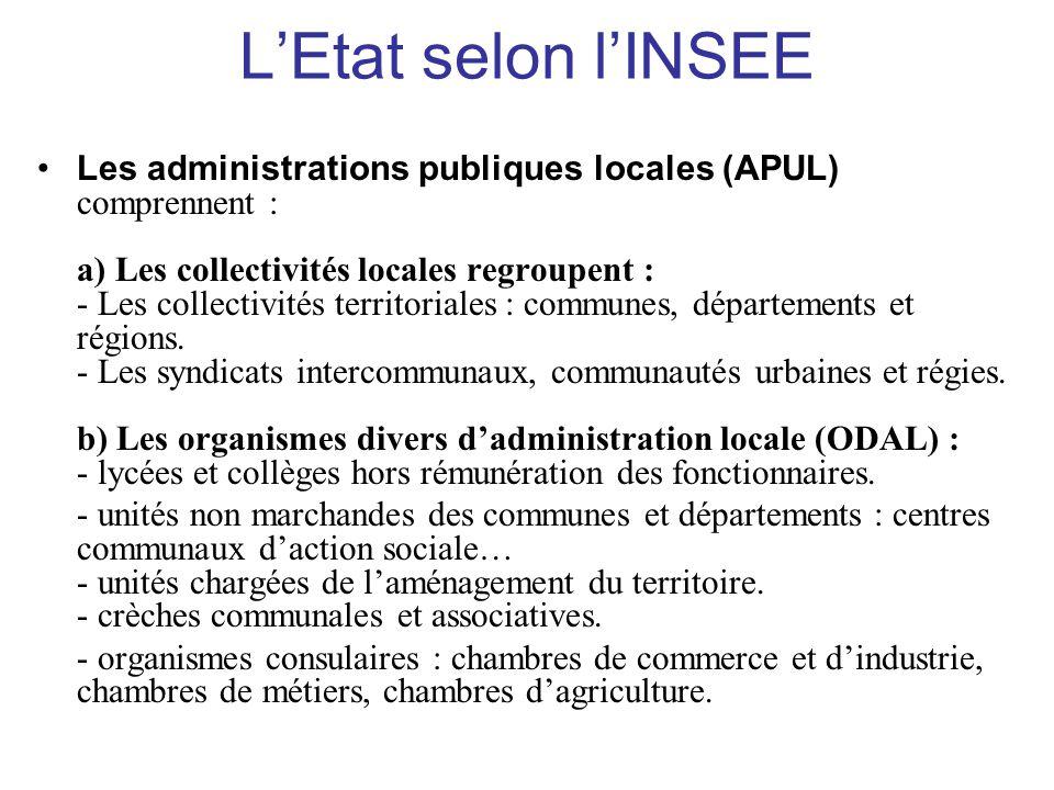 L'Etat selon l'INSEE •Les administrations publiques locales (APUL) comprennent : a) Les collectivités locales regroupent : - Les collectivités territo