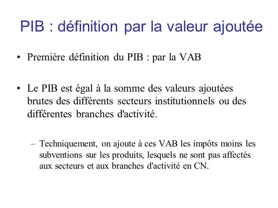 PIB : définition par la valeur ajoutée •Première définition du PIB : par la VAB •Le PIB est égal à la somme des valeurs ajoutées brutes des différents