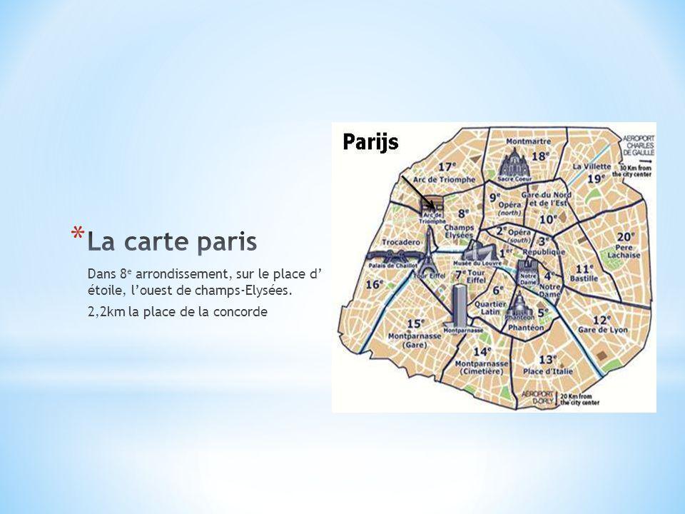 Dans 8 e arrondissement, sur le place d' étoile, l'ouest de champs-Elysées. 2,2km la place de la concorde