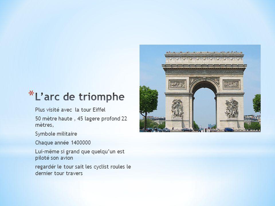 Plus visité avec la tour Eiffel 50 mètre haute, 45 lagere profond 22 mètres, Symbole militaire Chaque année 1400000 Lui-même si grand que quelqu'un es