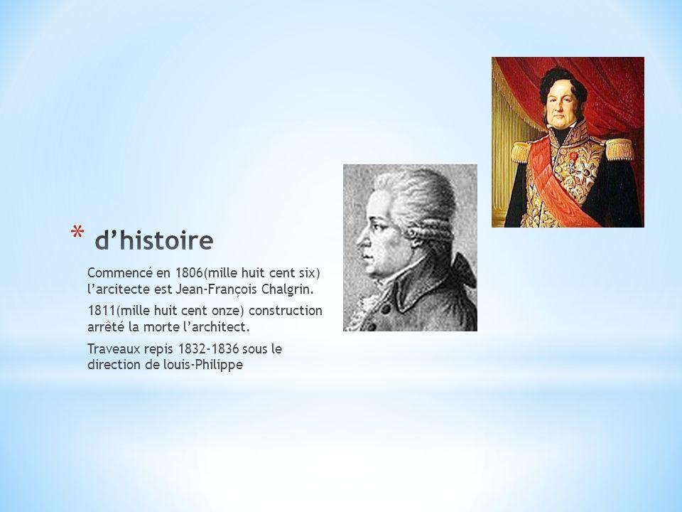 Commencé en 1806(mille huit cent six) l'arcitecte est Jean-François Chalgrin. 1811(mille huit cent onze) construction arrêté la morte l'architect. Tra