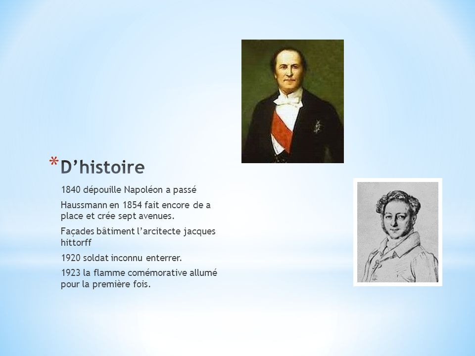 1840 dépouille Napoléon a passé Haussmann en 1854 fait encore de a place et crée sept avenues. Façades bâtiment l'arcitecte jacques hittorff 1920 sold